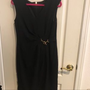 Ivanka Trump black shift dress 8 rhinestone clasp